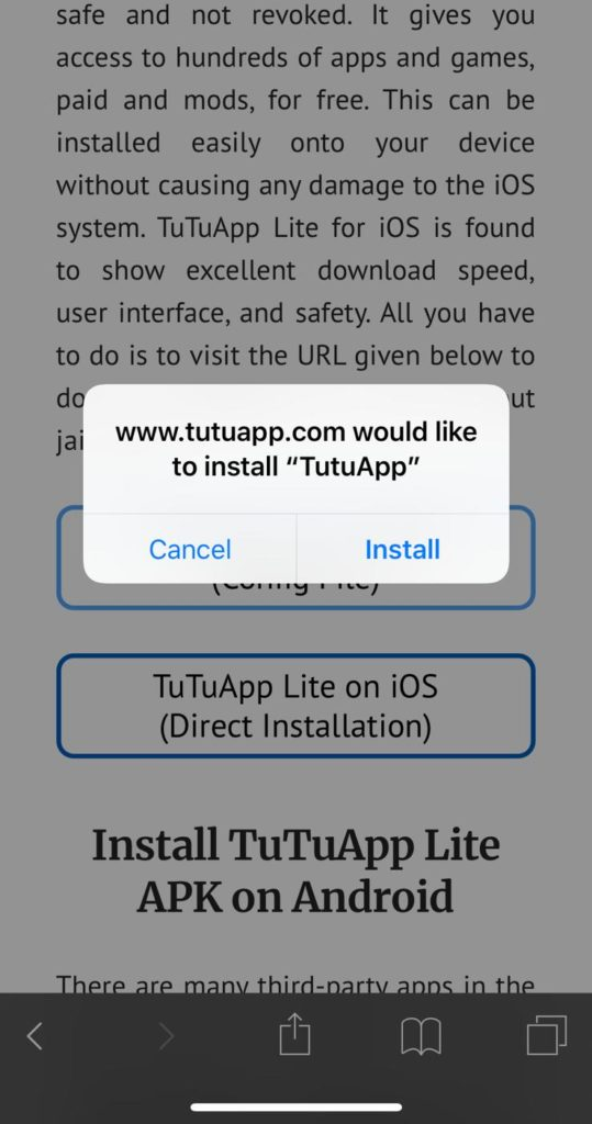Install TuTuApp Lite APK on Android