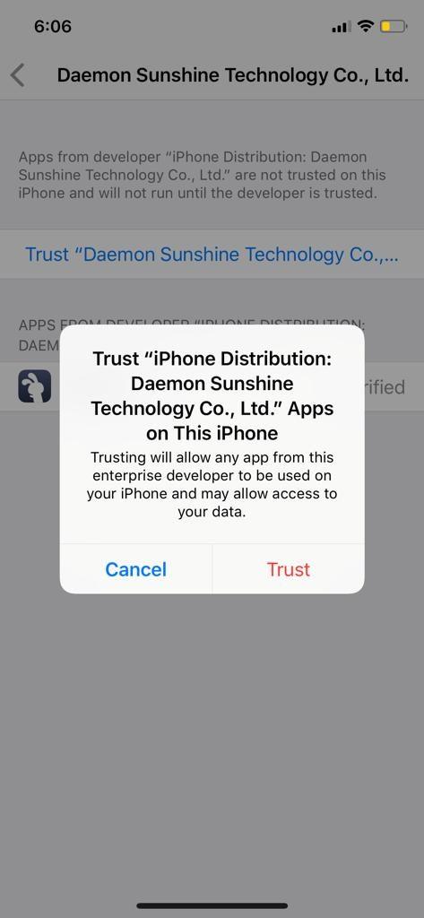 Trust Profile TuTuApp iOS