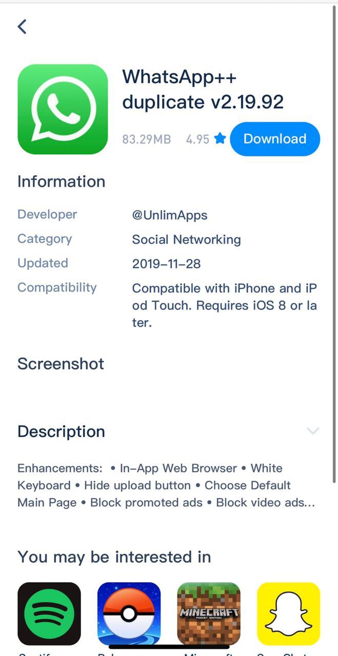 Install WhatsApp++ on iPhone & iPad