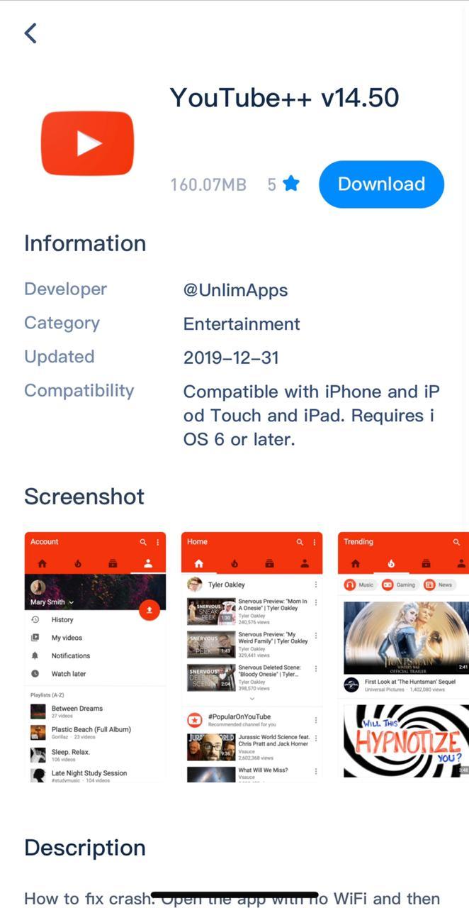 Install YouTube++ App on iOS