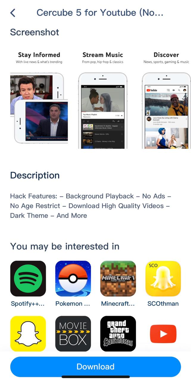 Cercube App on iOS - TuTuApp Lite